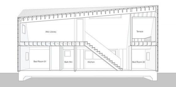 Plano de corte casa dos pisos de campo