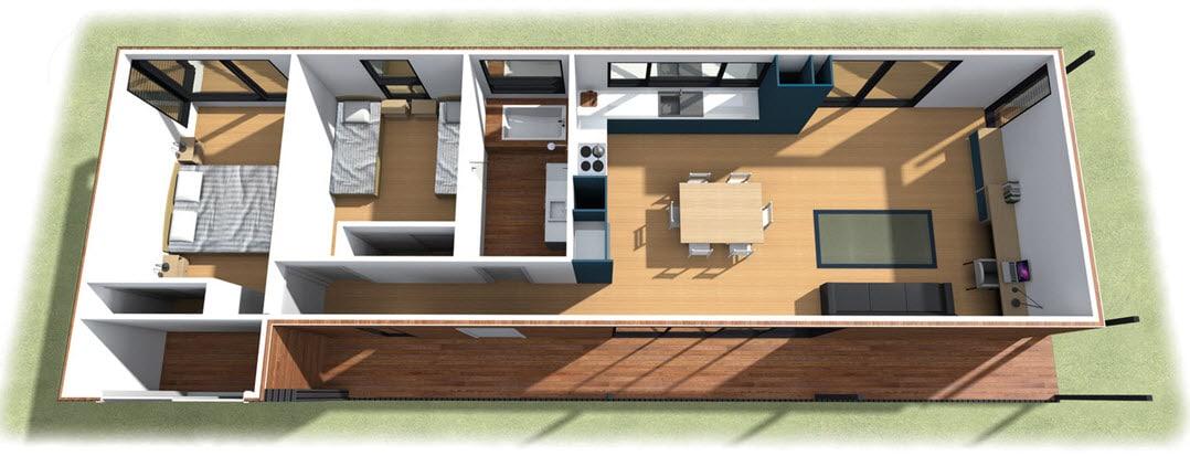 Dise o de casa de campo de un piso moderna construye hogar Planos de dos dormitorios