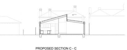 Plano de corte c c casa moderna