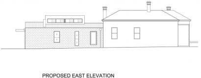 Plano elevación Este casa moderna