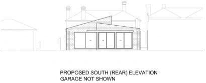 Plano fachada casa moderna