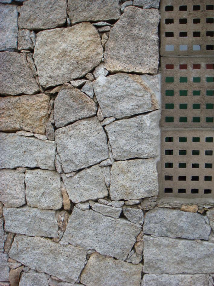 Muro de ladrillo rustico con baldosas de hormigon - Ladrillos de hormigon ...