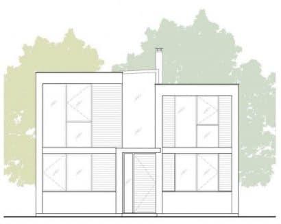 Plano de fachada moderna