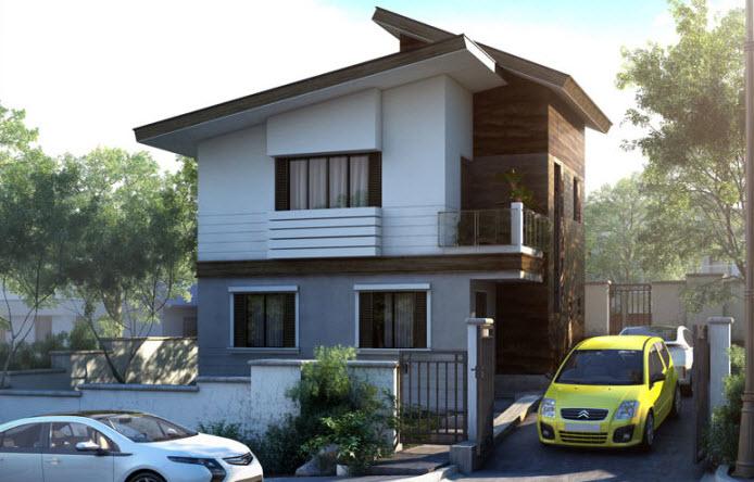 Planos peque a casa de dos pisos 42 metros cuadrados for Fachadas para casas pequenas de dos pisos