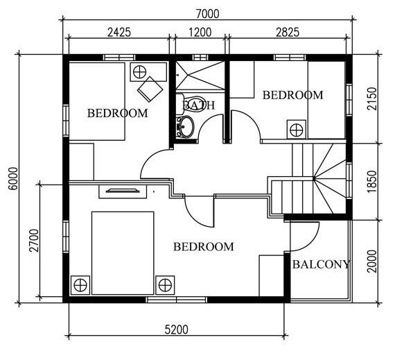 Planos peque a casa de dos pisos 42 metros cuadrados for Planos de casas de 2 pisos