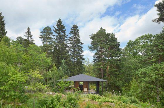 Casa de campo pequeña rodeada de árboles