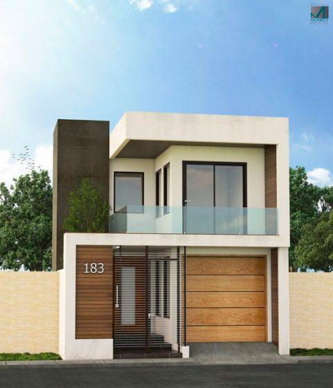 Diseño de fachada moderna de dos pisos pequeña