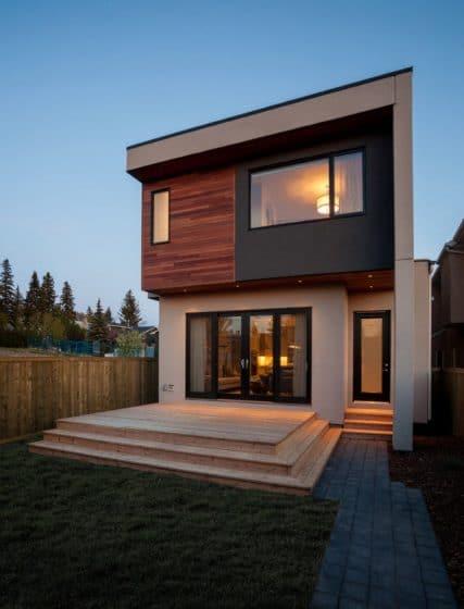 Fachada posterior casa dos pisos moderna