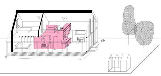 Plano 3D interior casa de campo moderna