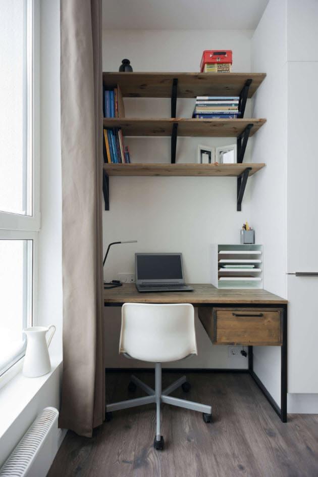 Idea de departamento peque o 35 m construye hogar for Cuarto de estudio