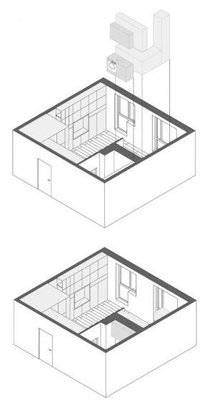 Plano 3D de muebles de departamento pequeño