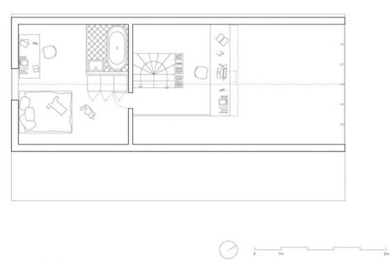 Plano de entrepiso casa pequeña de campo