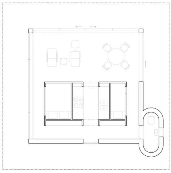 Plano de casa de campo de 40 metros cuadrados