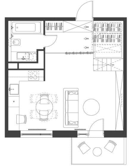 Plano pequeño departamento de 35 metros cuadrados