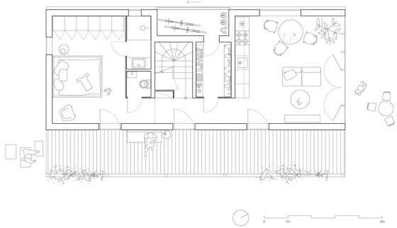 Plano de casa de campo de 85 metros cuadrados