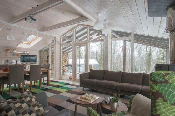 Diseño de interiores de madera para casa de campo