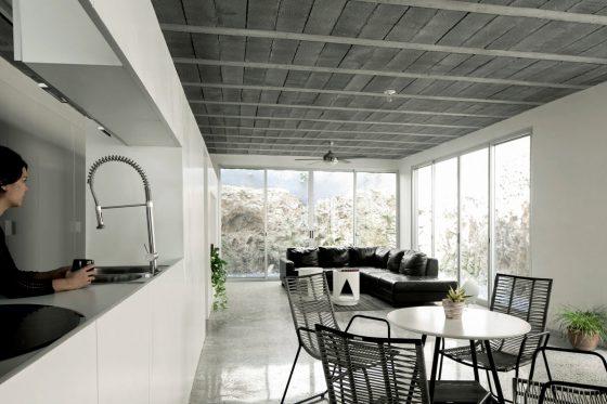 Diseño de sala comedor contemporáneo hormigón