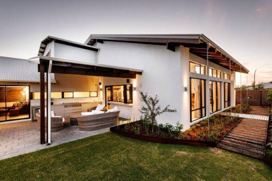 Fachada de perfil casa moderna un nivel