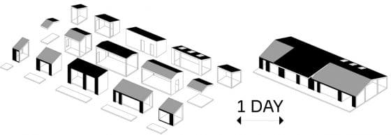 Gráfico 3d módulos casa de campo