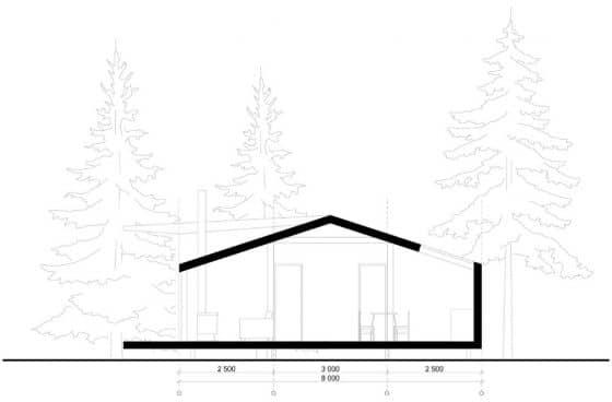 Plano de corte casa de campo