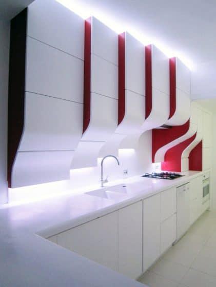 Muebles de cocina moderno blanco y rojo