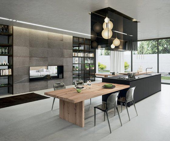 Cocina combina moderno y rústico