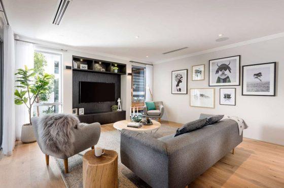 Diseño de sala moderna lujosa