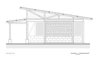 Fachada Oeste casa de campo
