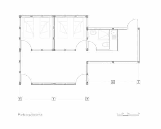 Plano casa de campo rústica dos dormitorios