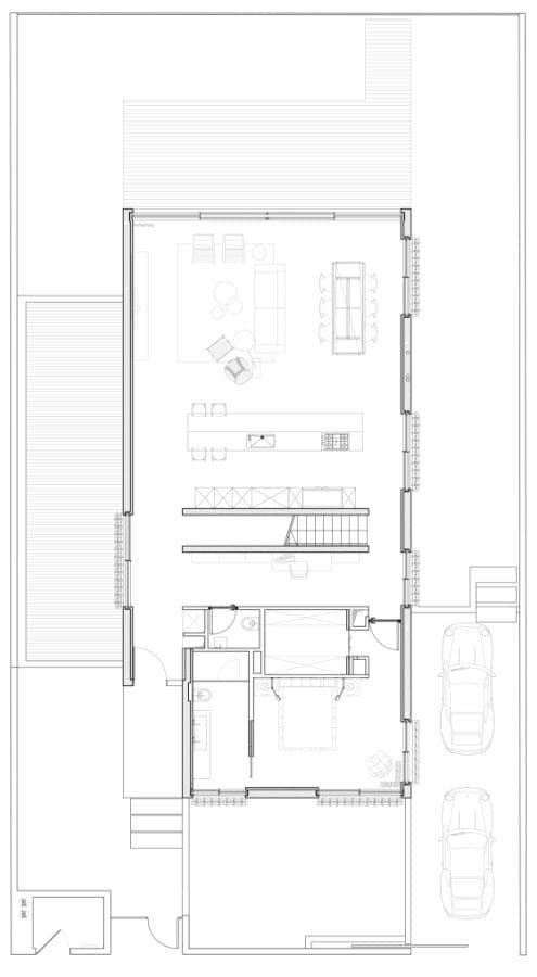 Plano de casa dos piso - primera planta