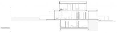 Plano de corte casa dos pisos con sótano