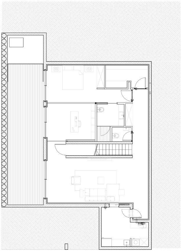 Plano de sótano casa dos plantas