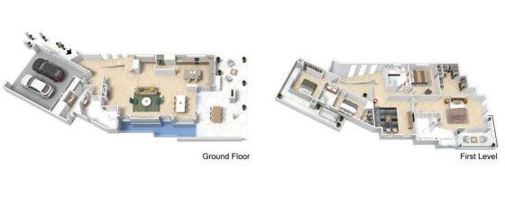 Planos 3D casa moderna dos pisos