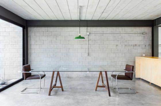 Diseño de comedor pisos y paredes hormigón