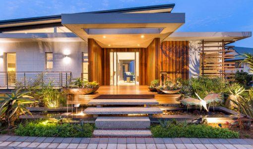 diseo de fachada de casa moderna con fotos de interiores casa en armona con la naturaleza y el arte