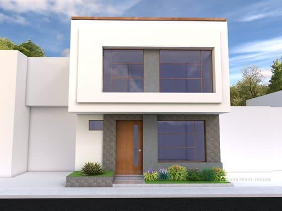 Diseño de fachada moderna construida en lote