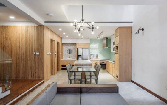 Diseño de sala comedor y cocina pequeña