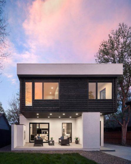 Fachada posterior casa de dos plantas