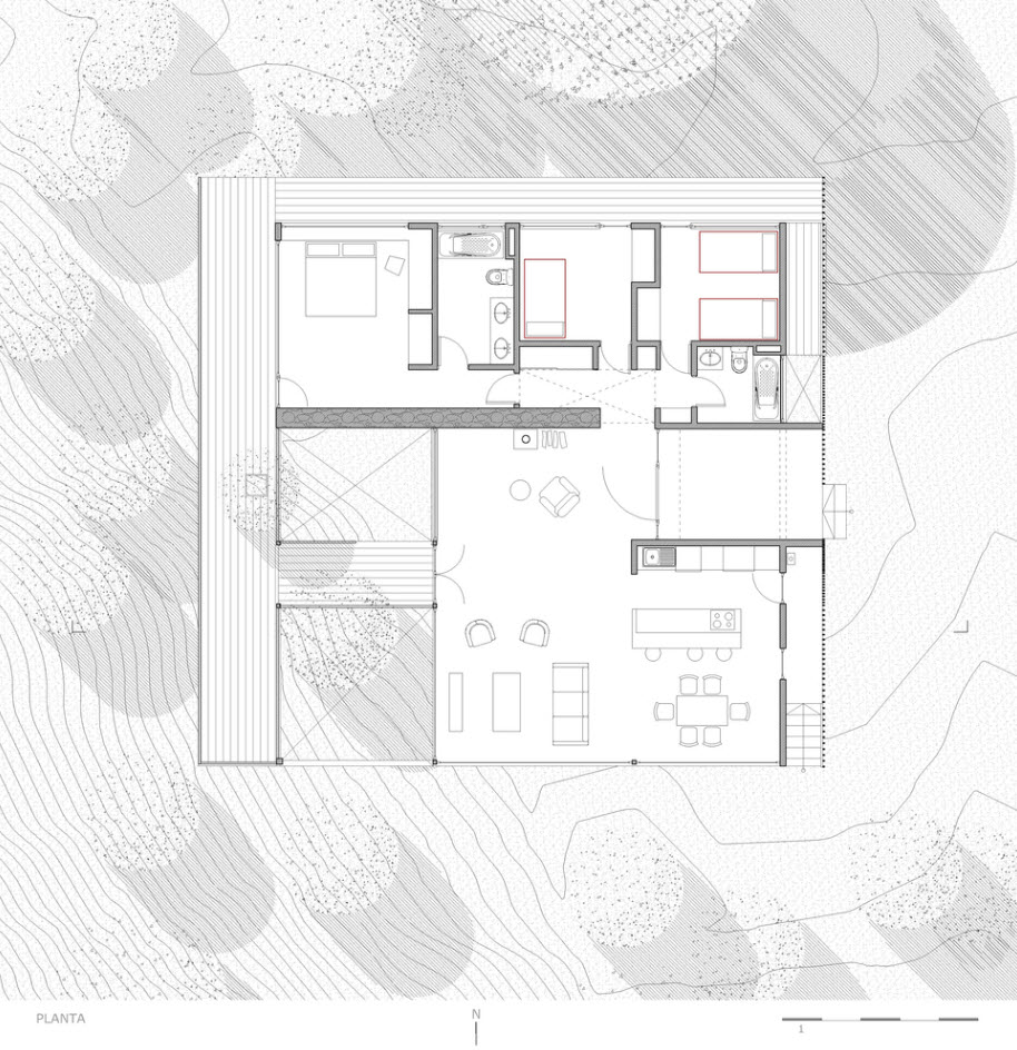 Planos casa de campo peque a y moderna construye hogar for Plano casa campo
