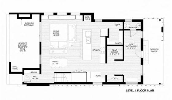 Plano de casa de dos pisos - sala comedor y cocina