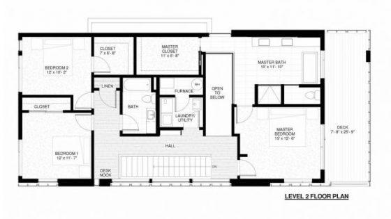 Plano de casa de dos pisos tres habitaciones