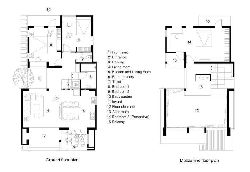Planos casa dos pisos tres dormitorios