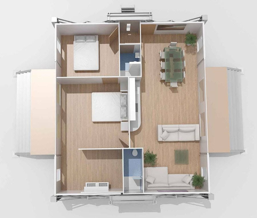Plano casa prefabricada dos dormitorios