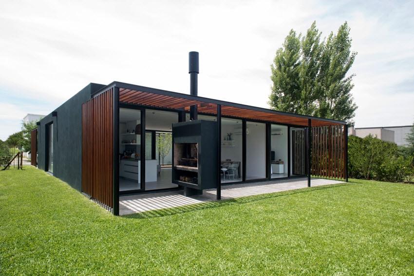Diseño casa moderna una planta madera hormigón