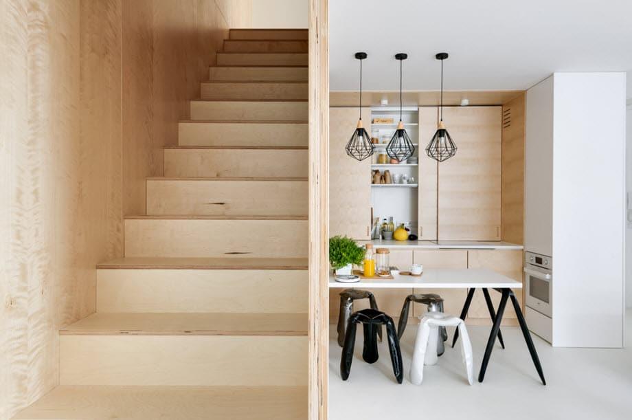 Diseño madera departamento dúplex