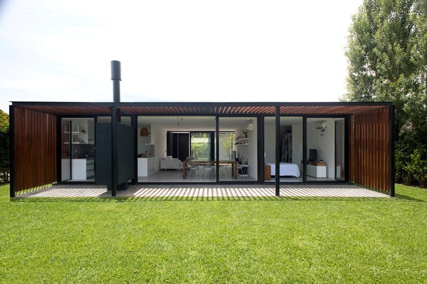 Fachada posterior casa moderna