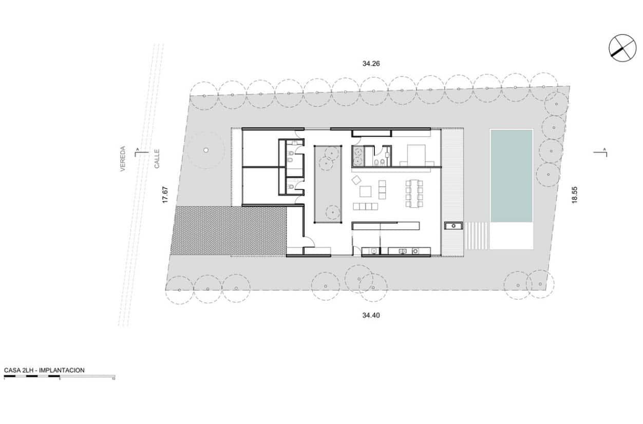 Plano casa un piso tres dormitorios