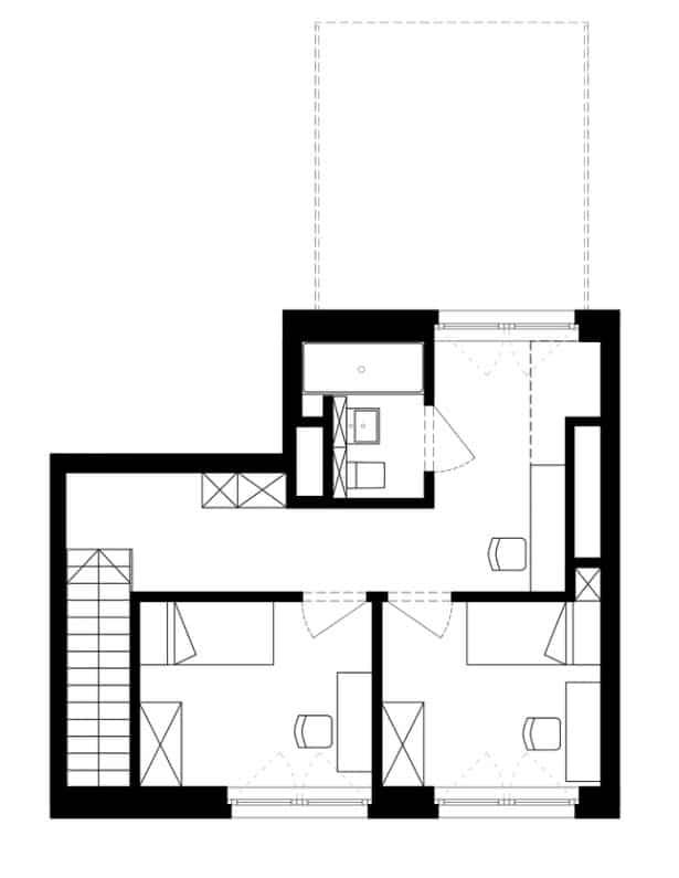 Plano departamento dúplex segundo nivel