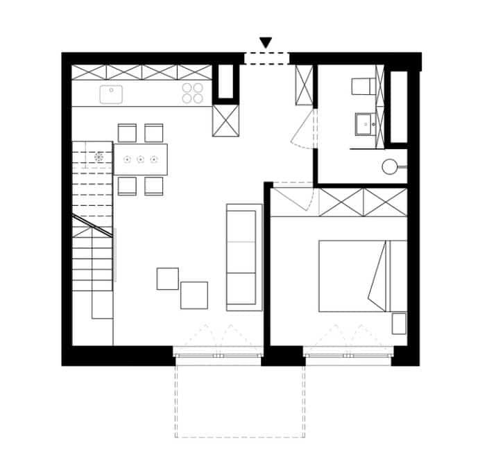 Plano de departamento dúplex 85 metros cuadrados