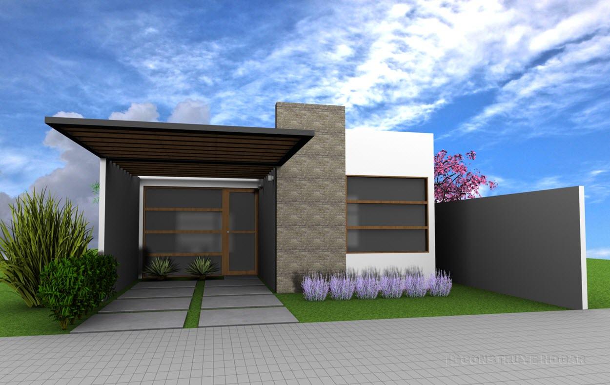 Idea de casa peque a de un piso construye hogar for Fotos de fachadas de casas minimalistas de un piso
